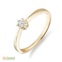 Золотое кольцо с бриллиантом 0,10 карат, желтое золото. НОВЫЕ (Код: 14902)