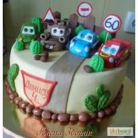 Детский торт с машинками из мультика Тачки