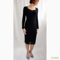 Черное платье в стиле Шанель с кружевом внизу