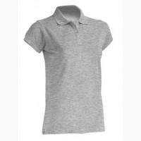 Женская футболка-поло серый меланж 100% хлопок