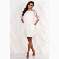 Короткое праздничное платье молочного цвета