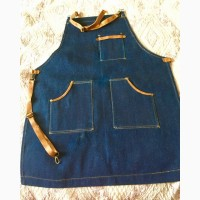Фартук Джинсовый с кожаными карманами бретели из кожи для бариста Повар официант