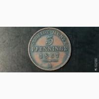 3 пфеннига 1867г. А. Пруссия. Германия. Медь