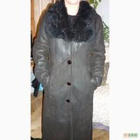 Итальянская длинная дублёнка чёрного цвета