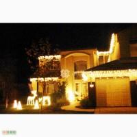 Оформление фасадов к новому году, украшение дома гирляндами