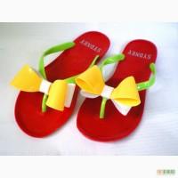Красные с бело-желтым бантом Силиконовые женские шлепанцы, вьетнамки.Цвета.Недорого