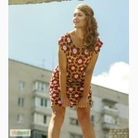 Вязаное крючком авторское платье из красивых цветочных орнаментов, в наличии и под заказ