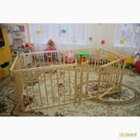 Манеж детский деревянный на 6 секций с воротами