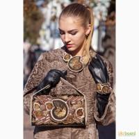Кожаная сумочка вышитая бисером с аммонитами Киев Одесса Днепр Харьков Львов