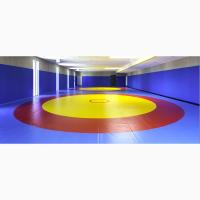 Борцовский ковер трехцветный, олимпийский с кругами 10м х 10м