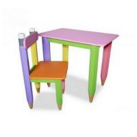"""Комплект """"Карандаши"""" столик с пеналом и стульчиком"""