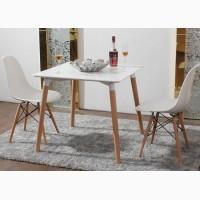 Обеденный кухонный стол квадратный стол Нури белый цвет 80х80см деревянный стол