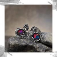 Срібні жіночі сережки «Дракони»