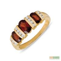 Золотое кольцо с гранатами и бриллиантами 0,16 карат 17,5 мм. НОВОЕ (Код: 19026)