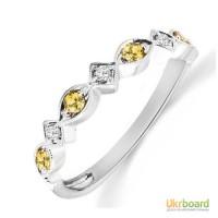 Золотое кольцо с сапфирами и бриллиантами 0,07 карат 17,5 мм. НОВОЕ (Код: 19033)