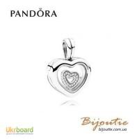 PANDORA шарм-подвеска с миниатюрой плавающее есрдце 792111CZ