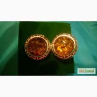 Серебряные серьги с янтарём