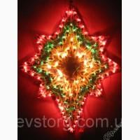 Новогоднее панно Звезда, Дед мороз, Елка, Колокольчик 120 микроламп