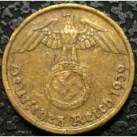 Германия 5 пфеннигов 1939 D год СВАСТИКА