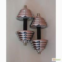 Гантели наборные сталь хром, комплект 20кг, 2шт = 10+10кг.
