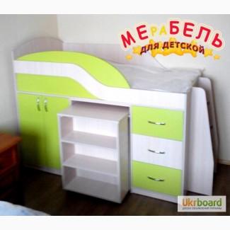 Детская кровать с выдвижным столом, шкафом, полками и ящиками (д18) Merabel