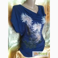 Туника синего цвета с цветочным принтом