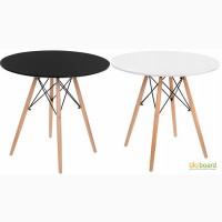 Обеденный стол круглый стол ТМ-35 диаметром 80см белый черный