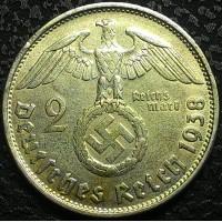 Германия 2 марки 1938 В год СЕРЕБРО, СОСТОЯНИЕ!!!!!! ТРЕТИЙ РЕЙХ
