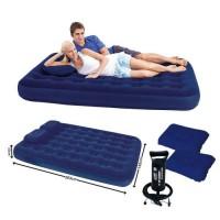 Надувной матрас с ручным насосом и 2 подушки в комплекте