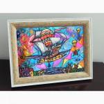 Витражная картина «Небесный фрегат»