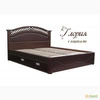 Надежная двуспальная кровать Глори из массива дерева