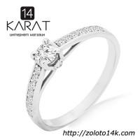 Золотое кольцо с бриллиантами 0, 36 карат 16, 5 мм. Белое золото. НОВОЕ (Код: 14445)