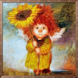 Картина маслом на подарок Солнечный ангел с ромашкой, копия картины Чувиляевой