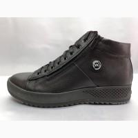 Скидка!Зимние мужские кожаные ботинки под кеды Vankristi