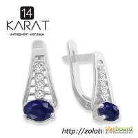 Серебряные серьги с натуральными сапфирами 1, 20 карат и цирконами. Новые (Код: с1004)