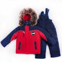 Зимний теплый комбинезон на мальчика Темно-Синий с красным разные цвета