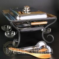 Тарелка для шашлыка Компания с крышкой и комплектом ковка