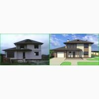 Дизайн фасада (экстерьера) с визуализацией и чертежами
