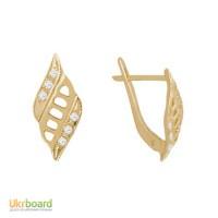 Золотые серьги с бриллиантами 0,10 карат. НОВЫЕ (Код: 14002)