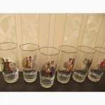 Немецкие раритетные стаканы (стекло) - пары в национальных костюмах республик СССР-6шт