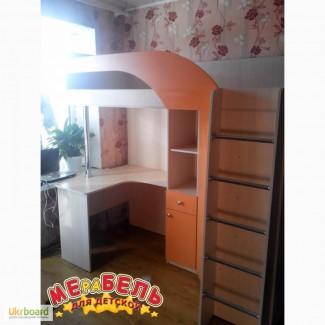 Кровать-чердак с рабочей зоной и угловым шкафом (к28) Merabel