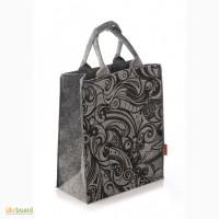 Сумка женская с трафаретним рисунком из войлока feltforyou, сумка из войлока, сумочка