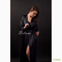 Женский халат из шелка черный. Короткий шелковый халат черного цвета. Киев, Украина