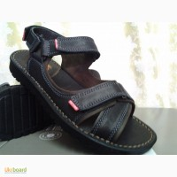 Мужские кожаные чёрные сандалии на липучках Detta РАСПРОДАЖА