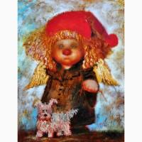 Картина маслом Рыжий ангел с собачкой