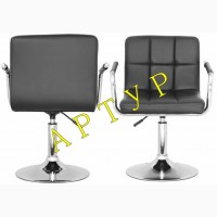 Офисно барное кресло стул Артур белый черный на колесиках и на блине