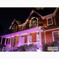 Праздничная иллюминация, украшение фасадов домов, оформление гирляндами
