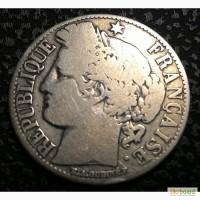 Франция 1 франк 1872 год Серебро 835, вес 5 гр