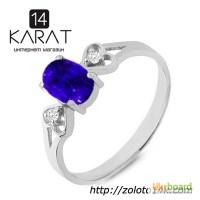 Золотое кольцо с сапфиром и бриллиантами 0, 03 карат. Белое золото. НОВОЕ (Код: 18885)