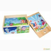 Смешарики деревянные кубики 12шт. Развивающая игрушка из дерева